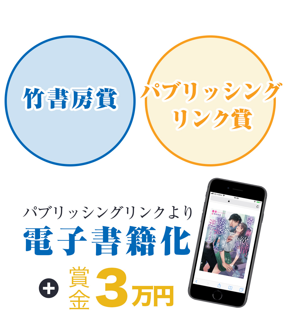 竹書房賞&パブリッシングリンク賞 賞金3万円 パブリッシングリンクより電子書籍化